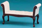 Dollhouse Miniature Settee, Mahogany, with White Fabric