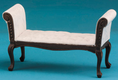 Dollhouse Miniature Settee, Walnut, with White Fabric