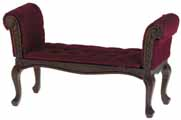 Dollhouse Miniature Settee, Walnut, with Red Fabric