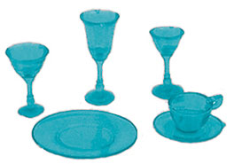 Dollhouse Miniature 4 Place Blue Dishes/Stemware, Kit, 24 pc