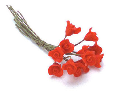 Dollhouse Miniature Roses, 1 Doz. Red