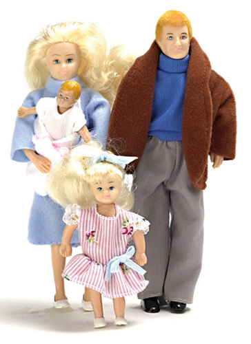Dollhouse Miniature Modern Doll Family, Blonde, 4Pc