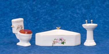 Dollhouse Miniature Flower Corner Bath Set, 3Pc