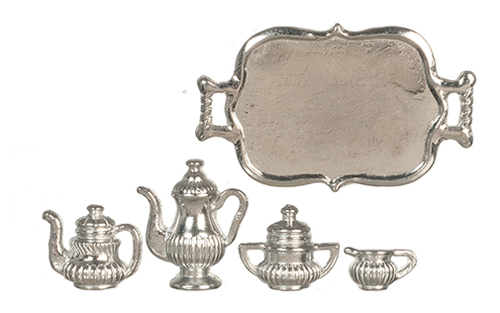 Dollhouse Miniature Tea Set, Silver Plated