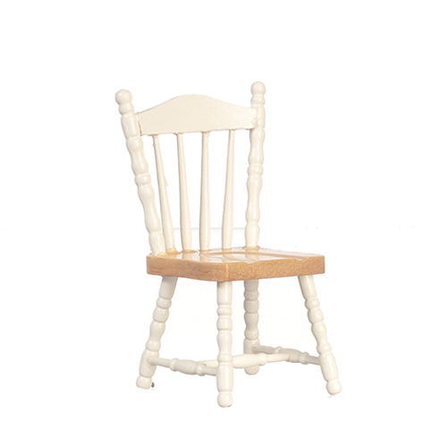Dollhouse Miniature Chair, White and Oak
