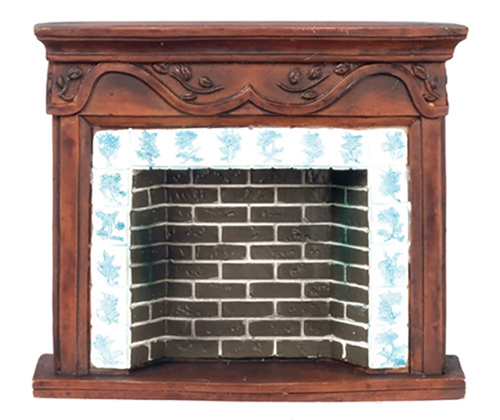 Dollhouse Miniature Brown Resin Fireplace