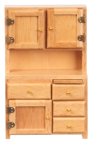 Dollhouse Miniature Kitchen Hutch, Oak