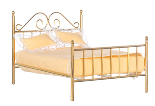Dollhouse Miniature Double Brass Bed