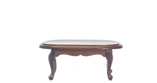 Dollhouse Miniature Oval Coffee Table, Walnut