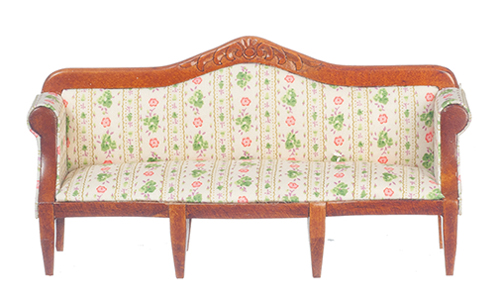Dollhouse Miniature Sofa, Green, Walnut