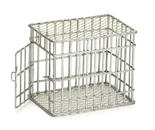 Dollhouse Miniature Small Dog Cage, Galvanized
