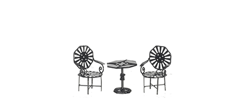 Dollhouse Miniature Table Set, Black, 3pc