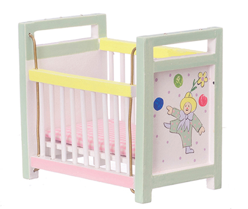 Dollhouse Miniature Baby Crib, Multicolor