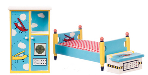 Dollhouse Miniature Flyer Bedroom Set