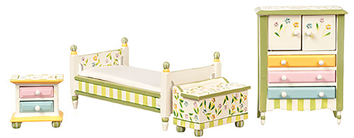 Dollhouse Miniature Springtime Bedroom, 4Pc