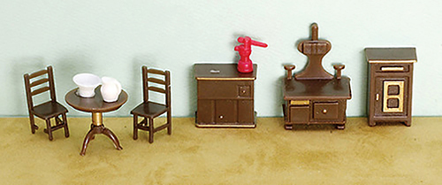 Dollhouse Miniature1/4 Inch Kitchen Set, 9Pc