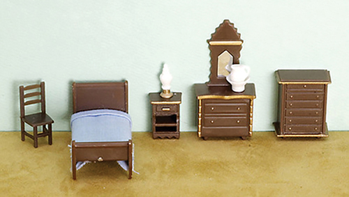 Dollhouse Miniature1/4 Inch Bedroom Set, 8Pc