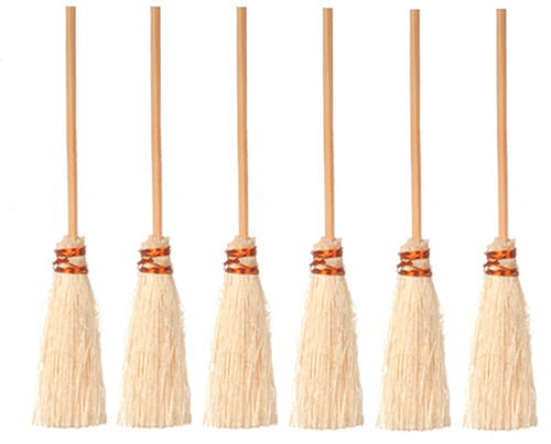 Dollhouse Miniature2-3/4 In Brooms/6 Pack
