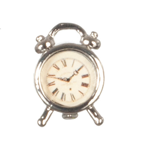 Dollhouse Miniature Silver Alarm Clock