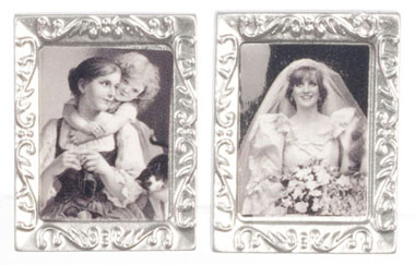 Dollhouse Miniature Small Silver Rectangle Frames, 2 pc