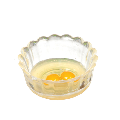 Dollhouse Miniature Bowl With Raw Eggs