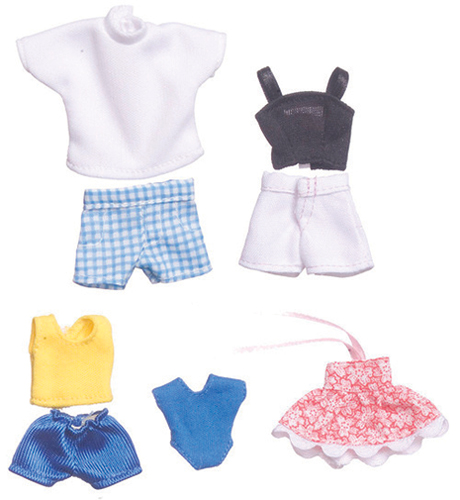 Dollhouse Miniature Summer Clothing, 5 Outfits