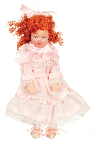 Dollhouse Miniature Girl In Pink Dress