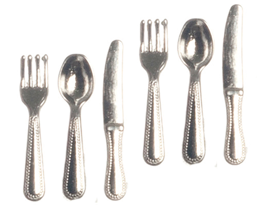 Dollhouse Miniature Silver Cutlery Set, 6 pc