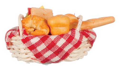 Dollhouse Miniature Basket Of Bread, Sandwich