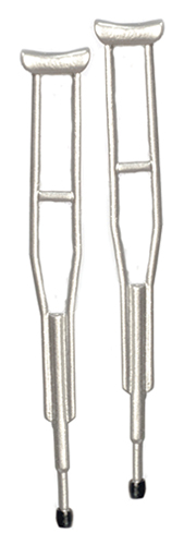 Dollhouse Miniature Aluminum Crutches, 2 Pc Set