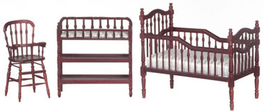 Dollhouse Miniature Baby Room Set, 3 pc, Mahogany