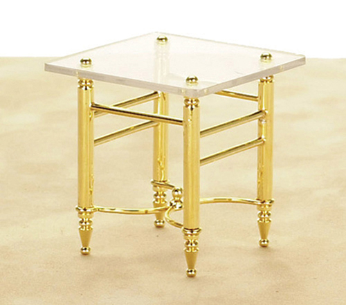 Dollhouse Miniature End Table, Brass and Glass