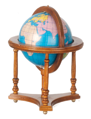 Dollhouse Miniature Globe with Stand, Walnut
