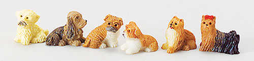 "Dollhouse Miniature Polyresin  Dogs, 3/4"", Assorted"