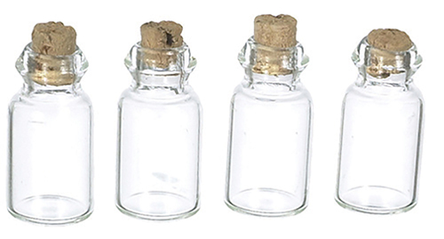 Dollhouse Miniature Glass Jars, Empty, 4 pc