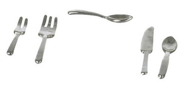 Dollhouse Miniature Silverware Set, 5 pc