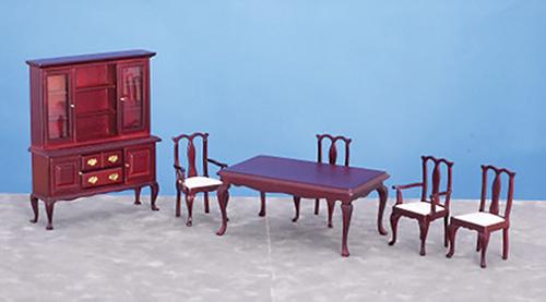 Dollhouse Dining Room Set 6 Pc Mahogany Azt0123 Just Miniature