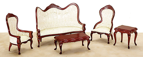 Dollhouse Miniature Victorian Living Room Set, 5 pc,  Mahogany