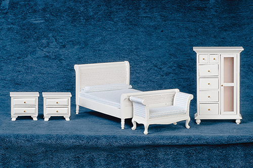 Dollhouse Miniature Bedroom Set, 5 pc, White