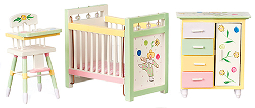Dollhouse Miniature Nursery Set 3Pc, Painted