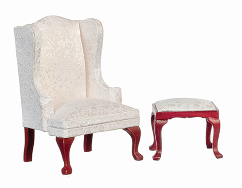Dollhouse Miniature Queen Anne Wing Chair with Stool, White, Mahogany