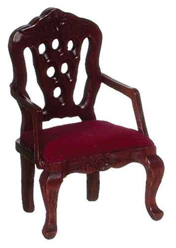 Dollhouse Miniature Carved Back Armchair, Red, Mahogany