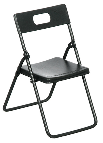 Dollhouse Miniature Folding Chairs, Black