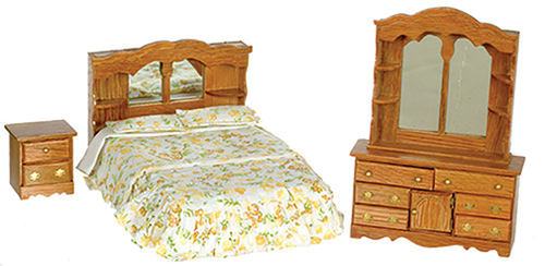 Dollhouse Miniature Double Bed Bedroom Set, 3 pc, Dark Oak