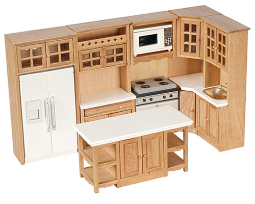 Dollhouse Miniature Kitchen Set, 6Pc, Oak