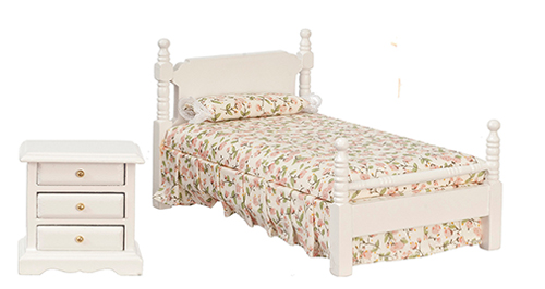 Dollhouse Miniature Bedroom Set, 2Pc, White