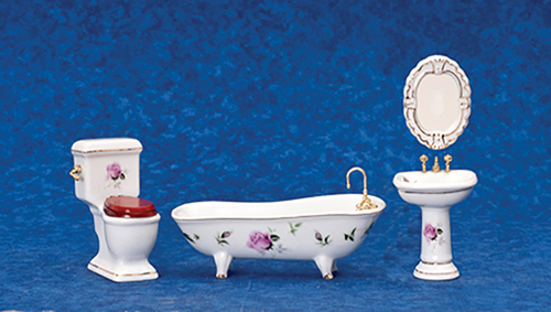 Dollhouse Miniature Bath Set, 4 pc, Pink Roses