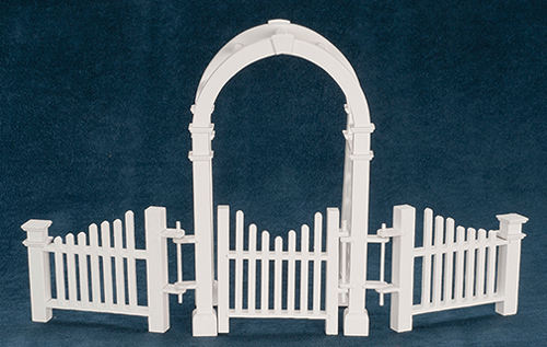 Dollhouse Miniature Arbor with Gate And Fence