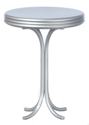 Dollhouse Miniature Round Tall Table, Silver