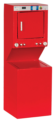 Dollhouse Miniature Washer and Dryer, Red